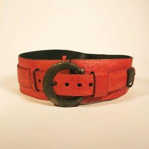 Vintage 1980's Red/Orange 2in1 Leather Belt
